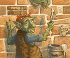 """""""Goblin Masons"""" -8.25"""" x 9.5"""" Original art for Magic the Gathering by Tony DiTerlizzi available at the R. Michelson Galleries or at rmichelson.com"""