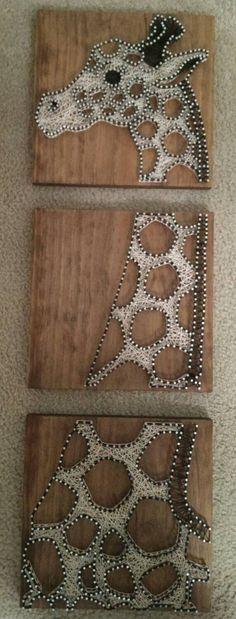 3 panneau girafe ongle et String Art Original par brokenwingArts