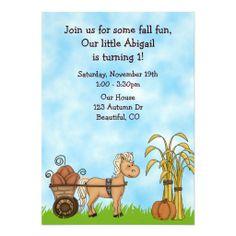 Autumn Horse 1st Birthday Invitation