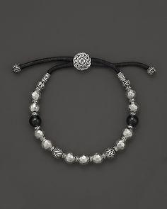 John Hardy Men's Palu Silver Batu Bead Bracelet with Black Tourmaline