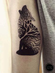 Tree wolf sleeve tattoo
