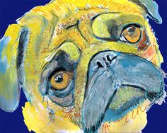 Pug print blue, Pug wall art, Pug Decor, Colorful Pug dog, Dog art, Pug art print, Pug painting, Pug gift idea, Pug… #dogs #pets #puppy