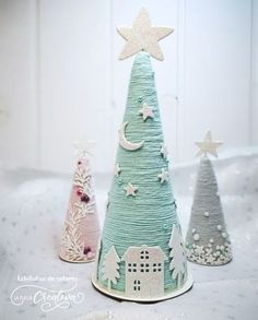 Christmas Holiday Paper Mache Cone Trees with twine or yarn, gold jeweled garlan. - Christmas Holiday Paper Mache Cone Trees with twine or yarn, gold jeweled garland, table or mantle - Handmade Christmas Decorations, Easy Christmas Crafts, Diy Christmas Tree, Pink Christmas, Christmas Projects, Simple Christmas, Christmas Holidays, Xmas Decorations, Christmas Ornaments