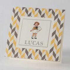 Vintage kaartje jongetje in 50's look met bruin-gele achtergrond (584.144) www.buromac.com