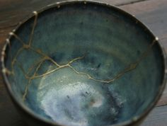 Kintsugi (Japanese: golden joinery) or Kintsukuroi (Japanese: golden repair) - Japanese art of fixing broken pottery with lacquer dusted or mixed with powdered gold, silver, or platinum - Poetic, metaphoric, inspiring, and chic