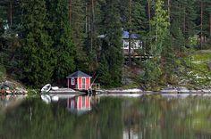 Idyllic landscape from Tuusula-Lake Finland (45340). boat, cottage, idyllic, lake, landscape, reflection