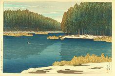 """""""Lingering Snow at Inokashira"""" by Kawase Hasui, 1920"""
