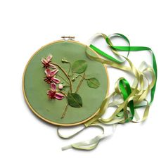 Hoop Art Embroidery ribbon flowers Wall hanging framed textiles painting