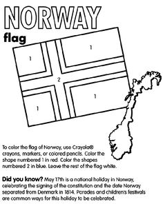 Use Crayola® crayons, colored pencils, or markers to color the flag of Norway… Flag Coloring Pages, Free Printable Coloring Pages, Free Coloring, Coloring Books, Crayola Crayon Colors, Holidays In Norway, Norway Christmas, Norway Viking, Norway Flag
