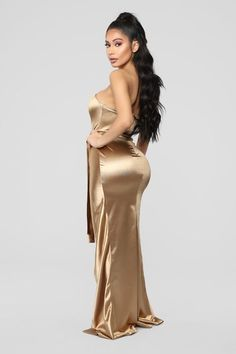 Available In Gold Satin Maxi dress Tube Top Overlay Skirt Bra Cu Padding Invisible Back Zipper Removable Belt Stretch Self: Polyester Spandex Lining: Polyester Dress Vestidos, Satin Dresses, Sexy Dresses, Gold Satin Dress, Sleeves Designs For Dresses, Dresses With Sleeves, Sexy Outfits, Baby Dress Design, Satin Bluse