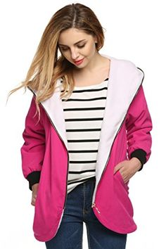 Fanala Womens Warm Fleece Hooded Jacket Outwear Trench Coat * Check out this great product.