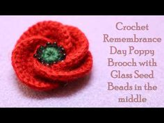 Crochet Remembrance Day Poppy Brooch with Glass Seed Beads in the middle. Easy Crochet Poppy tutorial explained step-by step using UK and USA crochet stitche. Crochet Poppy Free Pattern, Crochet Earrings Pattern, Crochet Brooch, Crochet Flower Tutorial, Crochet Flower Patterns, Crochet Flowers, Crochet Appliques, Bead Patterns, Bracelet Patterns