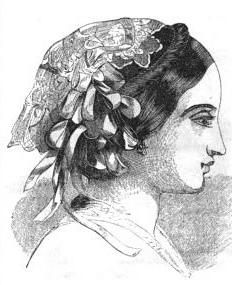 1858.  Arthur's Illustrated Home Magazine.  Could use faux hair braid/twist for front piece.