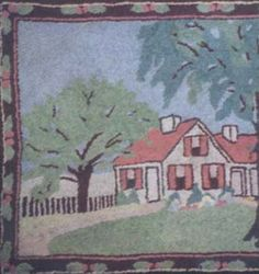 HOUSE IN TREE-FILLED LANDSCAPE ANTIQUE HOOKED RUG, BORDERED
