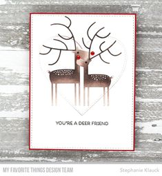 Stamps: Deer Friends Die-namics: Deer Love, Stitched Heart STAX, A2 Stitched Rectangle STAX Stephanie Klauck #mftstamps