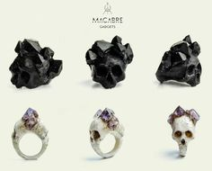 """vagosphere: """" Macabre Gadgets - Rings made of industrial materials and inexpensive stones for its durable and flexible nature. """" (Set de fotos: vagosphere: Macabre Gadgets - Rings made of industrial materials and inexpensive stones for. Skull Jewelry, Jewelry Box, Jewelry Accessories, Jewelry Design, Skull Rings, Jewlery, Gothic Jewelry, Jewelry Tattoo, Black Jewelry"""