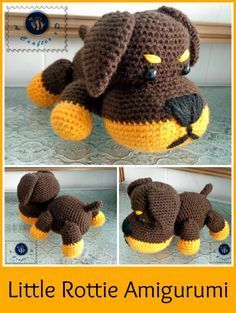 Little Puppy Rottie - Free Amigurumi Crochet Pattern here: http://beacrafter.com/little-rottie-amigurumi/