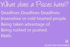 This hits the nail on the head! Hates deadlines, insensitive people, being rushed & math!
