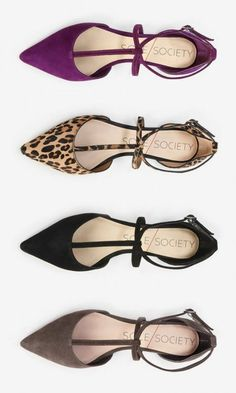 Soft suede flats with lots of straps, a pointed toe and adjustable ankle strap closure. In a word: Timeless. But I'm not sure if I would wear them myself Cute Flats, Cute Shoes, Me Too Shoes, Trendy Shoes, Shoe Boots, Ankle Boots, Shoes Heels, Flat Shoes, Ankle Strap Flats