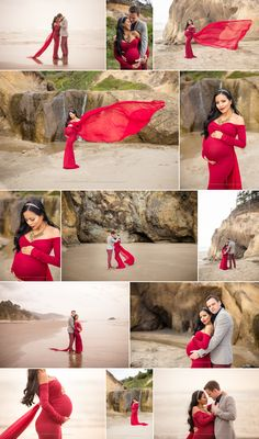 An idea of the gender colour piece of material floating behind the mother-to-be outside - Maternity Photography Portland, Oregon, Hug Point Cannon Beach, Sew Trendy Red Maternity Gown, Shannon Hager Photography