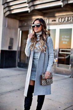 Winter Workwear Basics - grey sweater dress, grey coat, over the knee suede boots, and Gucci bag