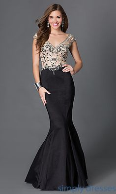 Shop backless mermaid dresses and long prom dresses at Simply Dresses. Long beaded designer gowns with cap sleeves and sheer-illusion mesh.
