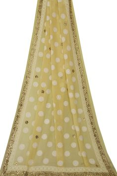 #Ada #handembroidered Flax Yellow #PureGeorgette #ChikanDupatta- A20870 offers a comfortable and relaxed silhouette to the wearer #Adachikan #chikankari #handcrafted #indianart #traditionalart #lucknowi