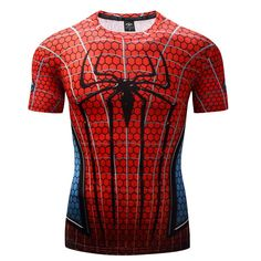 Raglan Sleeve Spiderman Printed T shirts Men Compression Shirts 2017 NEW Crossfit Tops For Male Fitness BodyBuilding Clothing Crossfit Shirts, Crossfit Clothes, Workout Shirts, Fitness Shirts, Fitness Clothing, Spiderman, Terno Casual, Bodybuilding Clothing, Gym Tops