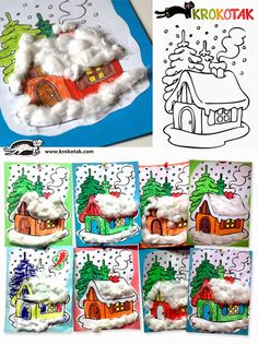 Winter house with cotton (krokotak) Diy Paper Christmas Tree, Winter Christmas, Kids Christmas, Winter Art Projects, Winter Crafts For Kids, Art For Kids, Winter Activities, Christmas Activities, Activities For Kids
