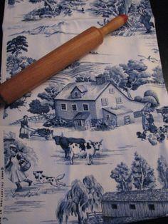 blue toile with the farm scene