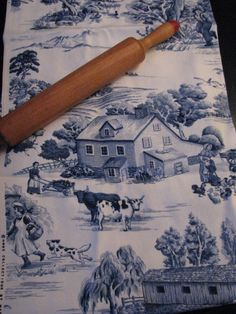 gorgeous blue toile with the farm scene and cows