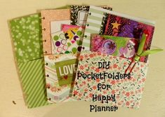 I have created a super simple pocket for my Happy Planner. This style folder could be used for actually any planner or binder. Once you make one you will wan. Arc Planner, Planner Layout, Planner Pages, Printable Planner, Planner Stickers, Planner Ideas, Printables, Lesson Planner, Planner Organization