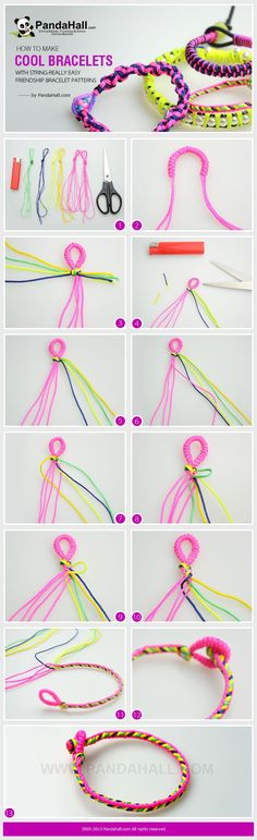 In today's how to make cool bracelets with string project, I will show you another really easy friendship bracelet patterns. Just enjoy with your strings and scissors!