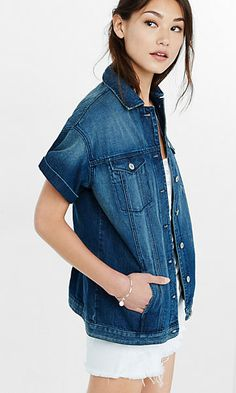 The Limited Denim Jacket Short sleeve denim jacket, button ...