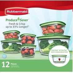 Rubbermaid Produce Saver 12 Piece Set by Rubbermaid. $33.25. Keeps Fruits & Vegetables Fresh and Crisp Longer. Easy Find Lids. Bases, Lids and trays nest inside of each other. Thick and durable for years of use. The Set includes: 2 - 2 cups bases and lids 2 - 5 cups bases and lids 2 - 14 cups bases and lids and all come with Crisp Trays
