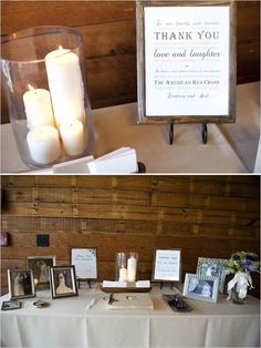 Guest Book and Memory Table Combined.Really like the set up! - Guest Book and Memory Table Combined…Really like the set up! Guest Book Table, Table Set Up, Guest Books, Corner Table, Wedding Guest Book, Wedding Table, Wedding Memory Table, Funeral Guest Book, Trendy Wedding