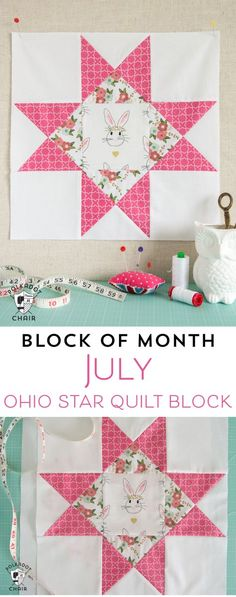The best DIY projects & DIY ideas and tutorials: sewing, paper craft, DIY. Best Diy Crafts Ideas For Your Home The July Quilt Block of the Month; the Ohio Star Quilt Block, includes full measurements and directions to make the block. Quilting Tutorials, Quilting Projects, Quilting Designs, Sewing Projects, Quilting Ideas, Sewing Tips, Learn Sewing, Sewing Designs, Patchwork Quilting