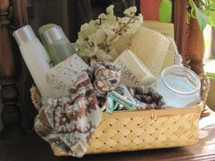 A care basket for the guest bathroom when people visit, how cute!