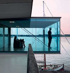 blue glass box, modern seaside space