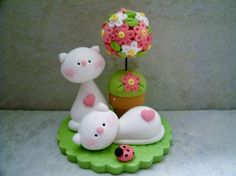 Cat Pair - Topiary - Polymer Clay - Figurine
