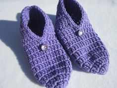 Crochet Lavender Slippers Womens Slippers by crochetedbycharlene, $18.00