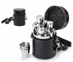 "Aeropen International FK-2612 3 Pc - 4 oz. Columniformed Shiny Stainless Steel Flask with 3-1 oz. Stainless Shooters by Aeropen International. $39.10. 4 Oz.. Size: 3-5/8 Diameter x 4-3/4.. Back: 1 W x 1-1/2 H.. 3 Pieces.. Front: 5/8 W x 1-1/2 H.. Size: 3-5/8"" Diameter x 4-3/4"". Front: 5/8"" W x 1-1/2"" H. Back: 1"" W x 1-1/2"" H. 3 Pieces. 4 Oz. Columniform. Shiny. 3 Stainless Steel Shooter, 1 Oz. Shooter. Polyurethane Leatherette Case. Carrying Case. Strap. Color(s)..."