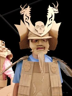 cardboard Samurai suits- art around the world Cardboard Costume, Cardboard Mask, Cardboard Sculpture, Cardboard Paper, Cardboard Crafts, Origami, Samurai Armor, Samurai Costume, Sculpture Lessons