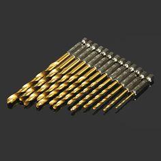 Drillpro DB-T2 13pcs 1.5-6.5mm HSS Titanium Coated 1/4 Inch Hex Shank High Speed Steel Drill Bit Set