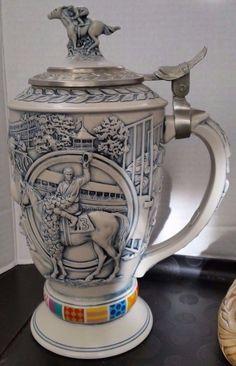 1992 AVON Ceramic Winner's Circle Beer Stein Horse Racing Collectible