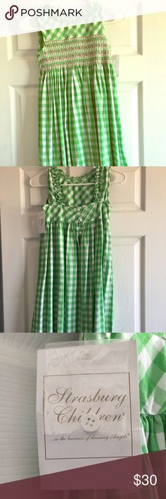 Strasburg dress Green and white Strasburg dress  Pink roses across the chest area Dress goes down past the knees  New with tags Size 7Y Dresses
