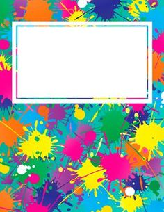Free printable paint splatter binder cover template. Download the cover in JPG or PDF format at http://bindercovers.net/download/paint-splatter-binder-cover/
