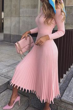 Mid-Calf Pleated Nine Points Sleeve Pullover Women's Maxi Dress - Outfit Fashion Simple Dresses, Elegant Dresses, Pretty Dresses, Beautiful Dresses, Casual Dresses, Awesome Dresses, Cocktail Dress Classy Elegant, Classy Outfits, Chic Outfits