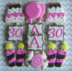 30th Birthday Decorated Sugar Cookies