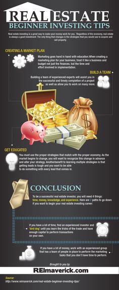 Real Estate Beginner Investing Tips http://www.reimaverick.com/real-estate-beginner-investing-tips-infographic/
